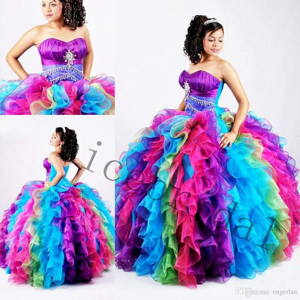 Multi Color Sweet16 Quinceanera Dresses Formal Prom Party