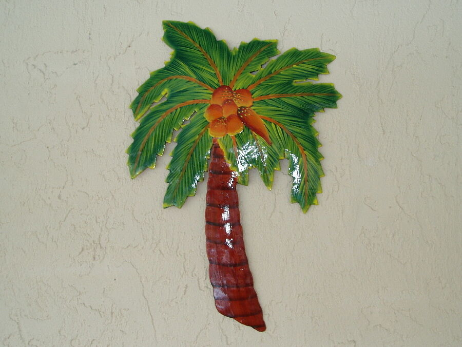 """16"""" Palm Tree With Coconuts Hanging Outdoor Metal Haitian"""