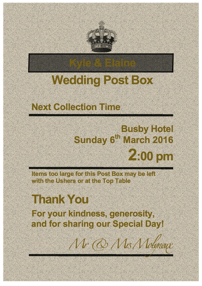 Personalised Royal Mail Post Box Wedding Card RUSTIC GOLD