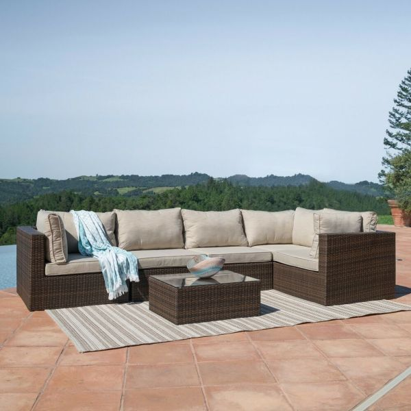 outdoor wicker patio furniture sectional sofa set Outdoor Patio 6PC Sectional Furniture PE Wicker Rattan