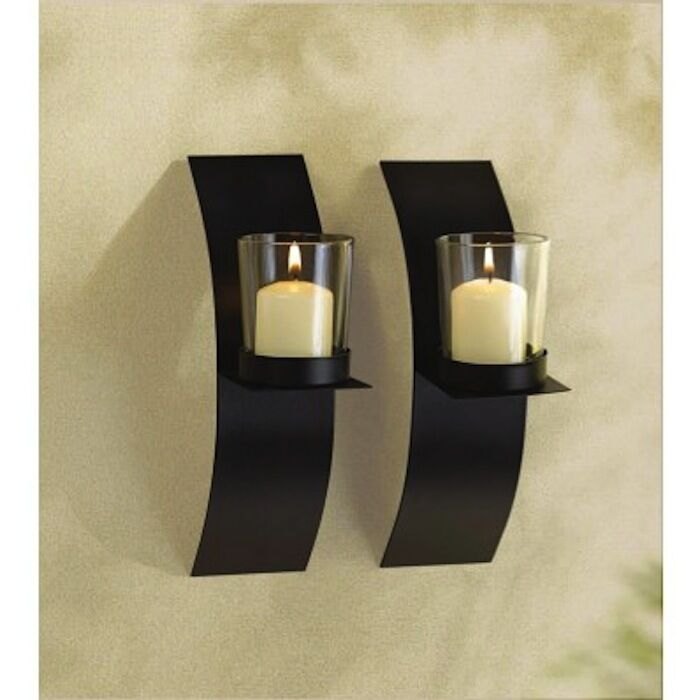 """2 SMALL Sconce 8"""" Candle Holder Wall Plaque Decor- Set   eBay on Decorative Wall Sconces Candle Holders Centerpieces Ebay id=87007"""