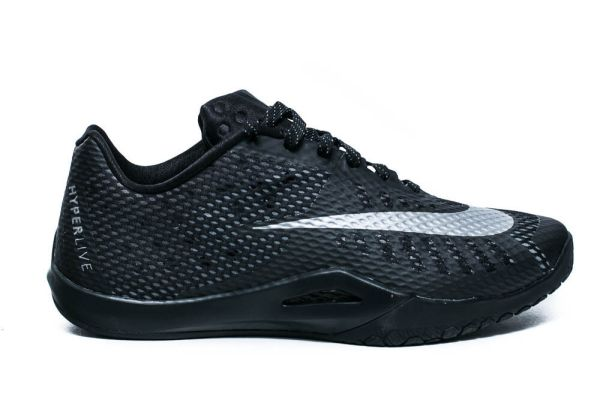 NIKE HYPERLIVE MENS BASKETBALL SHOES BLACK METALLIC SILVER ...