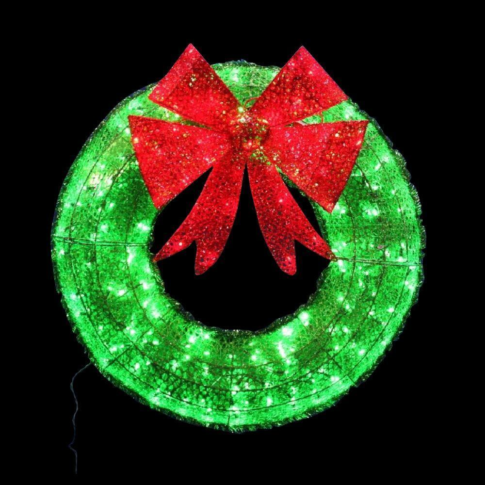 36 CHRISTMAS WREATH TWINKLING LIGHTED RED GREEN SPARKLE