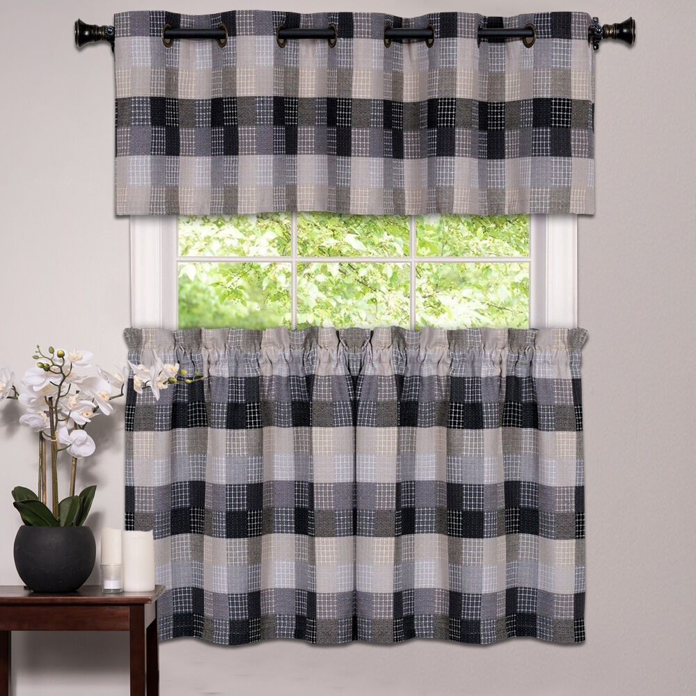 Kitchen Window Curtain Classic Harvard Checkered Tiers Or Valance Black EBay