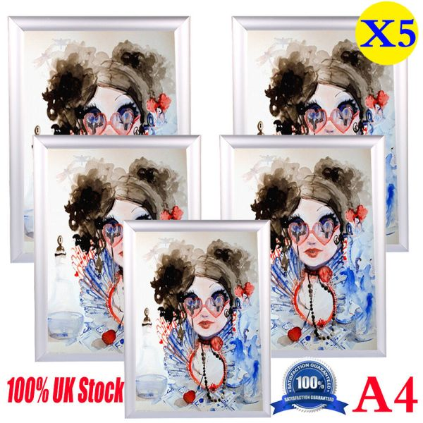 5Pack A4 Snap Picture Poster Frames Poster Clip Holder ...