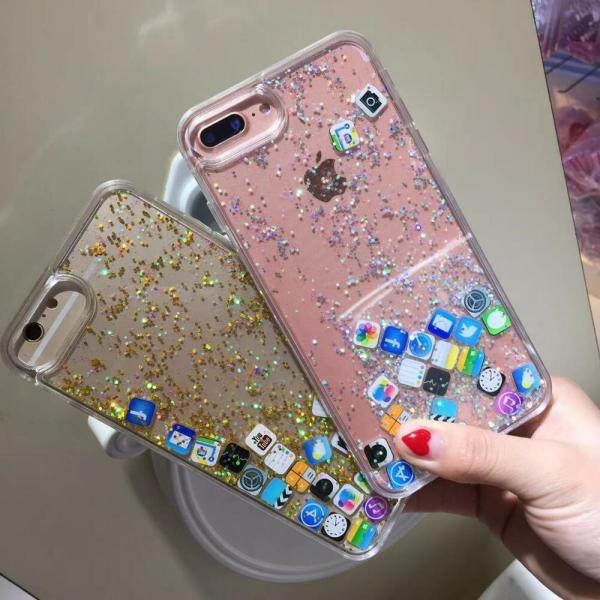 Funny APP Dynamic Quicksand Glitter Liquid Case Cover For ...