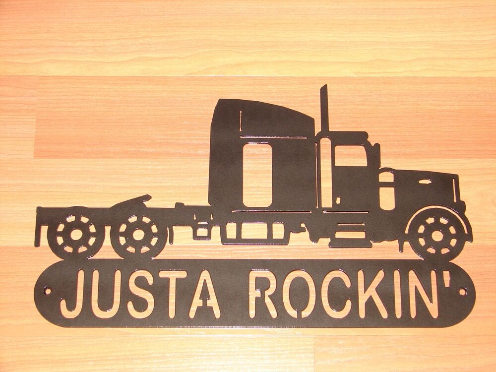SEMI TRACTOR METAL HOME ADDRESS SIGN WALL DECOR TRUCK | eBay on Home Wall Decor Signs id=27635