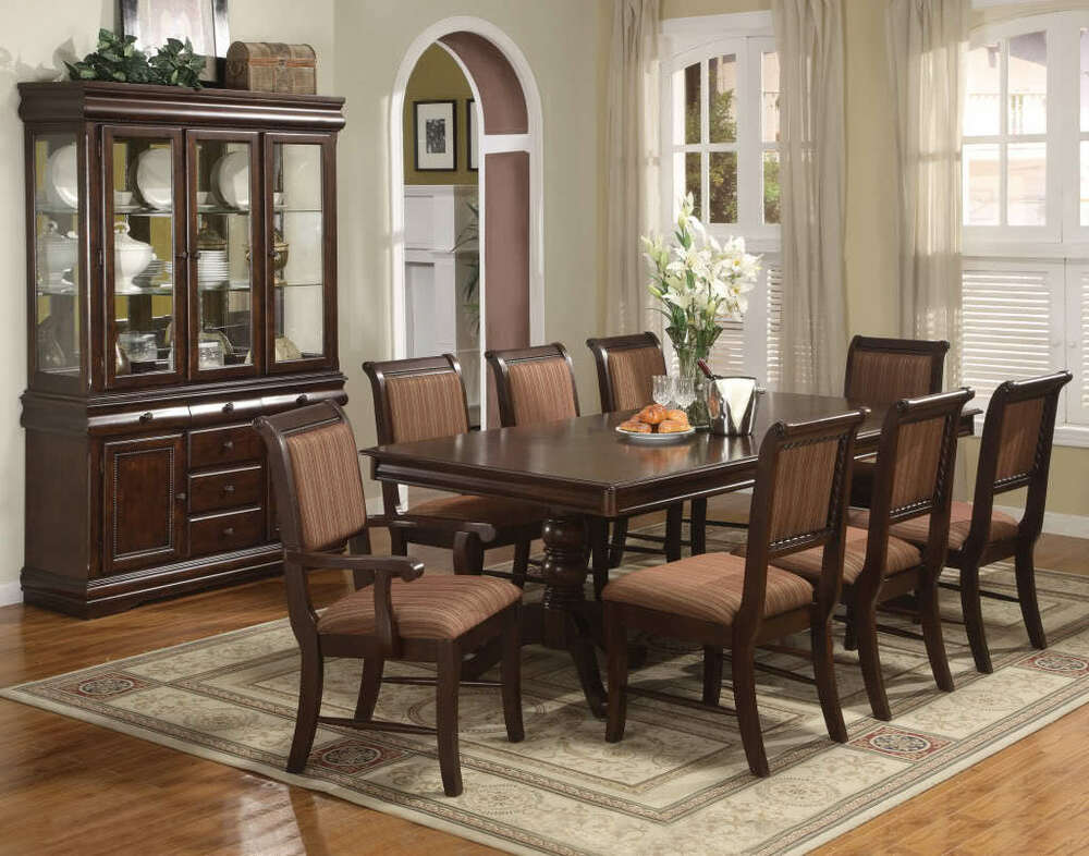 Merlot 7 Piece Formal Dining Room Set Table, 4 Side Chairs