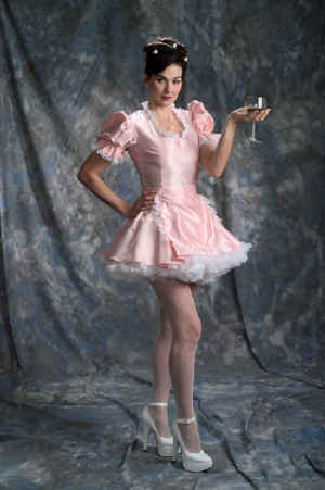 French Maid Uniform With White Lace Trim Sleeves Neck