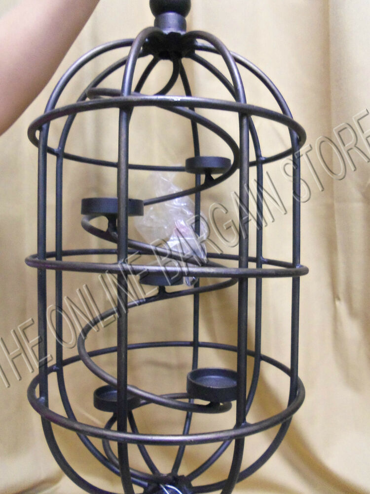 Frontgate Outdoor Tea Light Candle Holder Birdcage Wrought