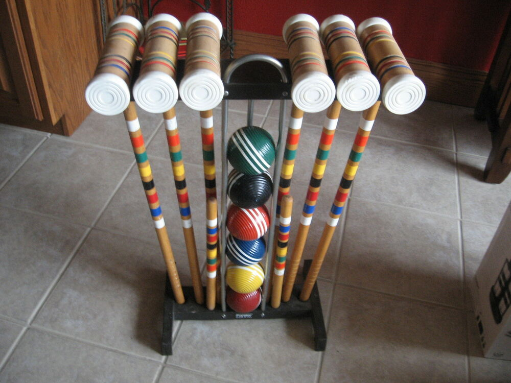 VINTAGE FORESTER WOOD CROQUET SET COMPLETE W/STAND SIX