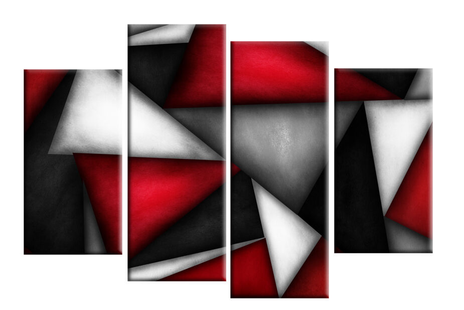 RED BLACK WHITE GREY ABSTRACT CANVAS PICTURE TRIANGLES
