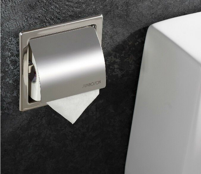 Stainless Steel Chrome Toilet Paper Holder Embedded Wall ... on Wall Mounted Tissue Box Holder id=19929