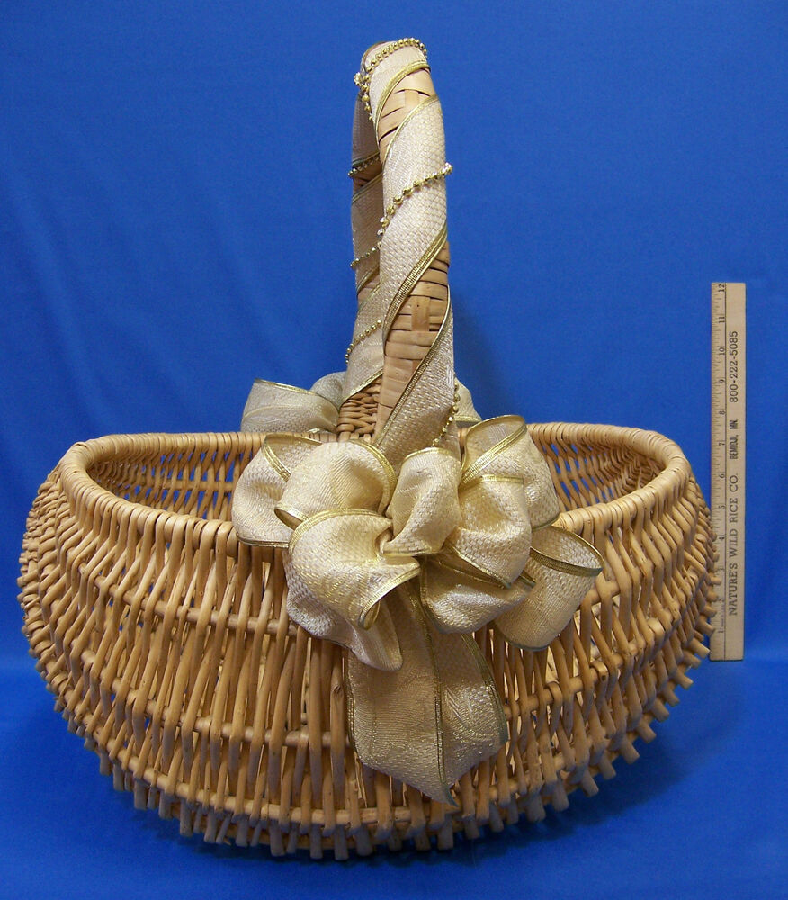 Natural Woven Wood Wicker Basket W Fixed Handle Amp Gold