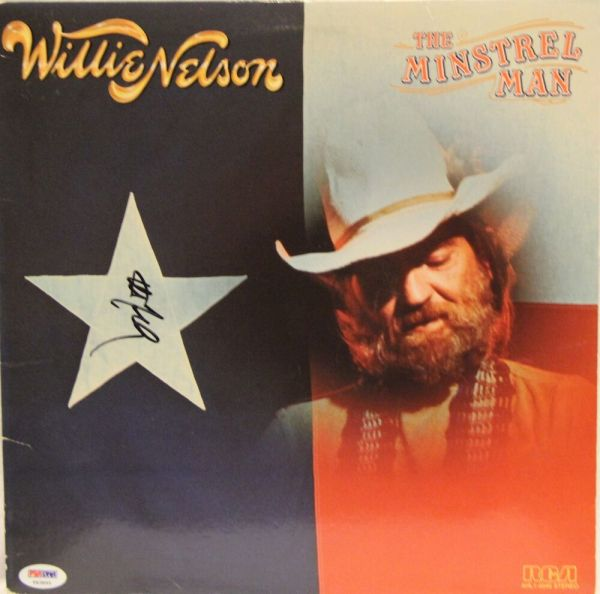 "WILLIE NELSON Signed ""The Minstrel Man"" Album LP PSA/DNA # ..."