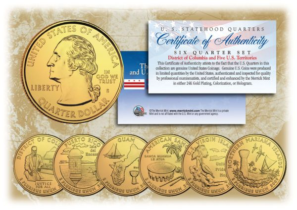 2009 DC US TERRITORIES Quarters 24K GOLD PLATED 6-Coin Set ...