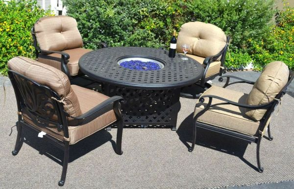 outdoor patio furniture with fire pit Fire Pit Table Set Elisabeth Propane 5pc Patio Furniture