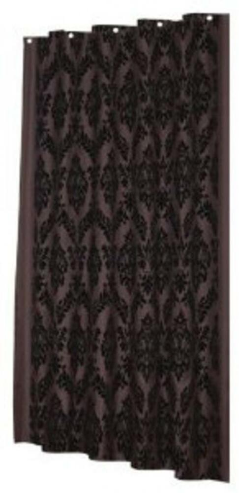 Regal 100 Polyester Fabric Shower Curtain Wflocking Color Black On Brown EBay