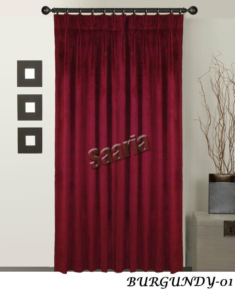 Saaria Velvet Pinch Pleated 100 Thermal Blackout Curtain StageTheater Backdrop EBay