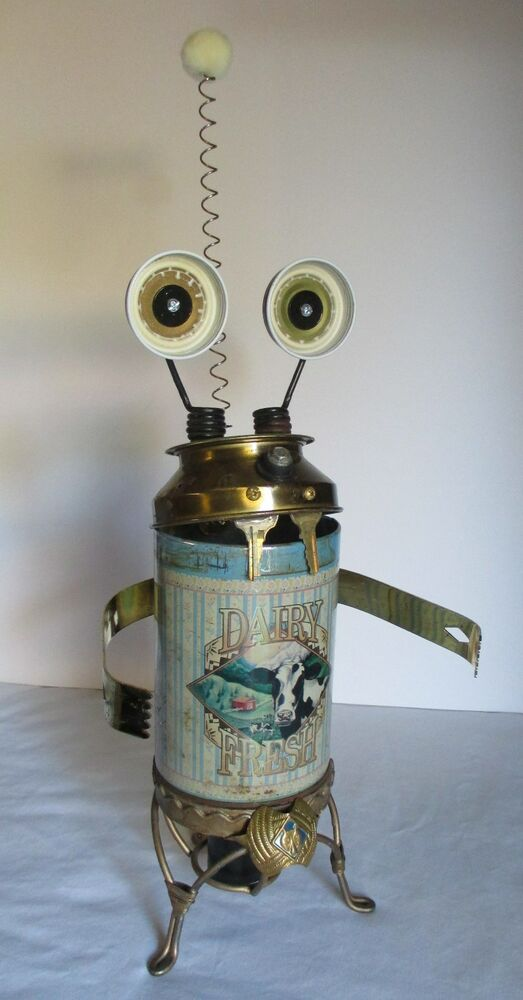 GOMERfound Object Robot Sculpture Assemblage By Y NOT