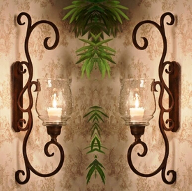 """NEW TUSCAN LARGE 22.75"""" H IRON SCROLL Candle Holder Wall ... on Large Wall Sconces Candle Holders Decorative id=51699"""