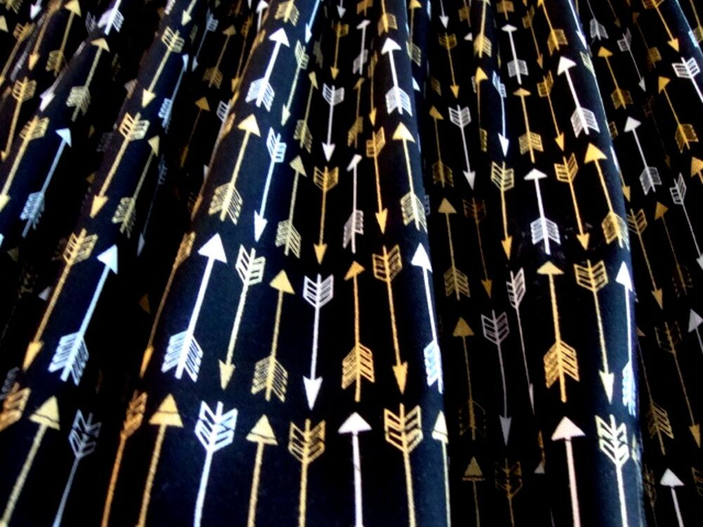 VALANCE Black With Gold And White Arrows Curtain Window Treatment Custom Made EBay