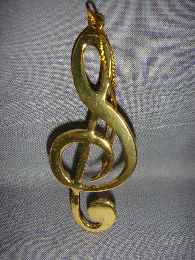 TREBLE CLEF G CLEF ORNAMENT MUSICAL INSTRUMENT 3 GOLDEN COLORED EBay