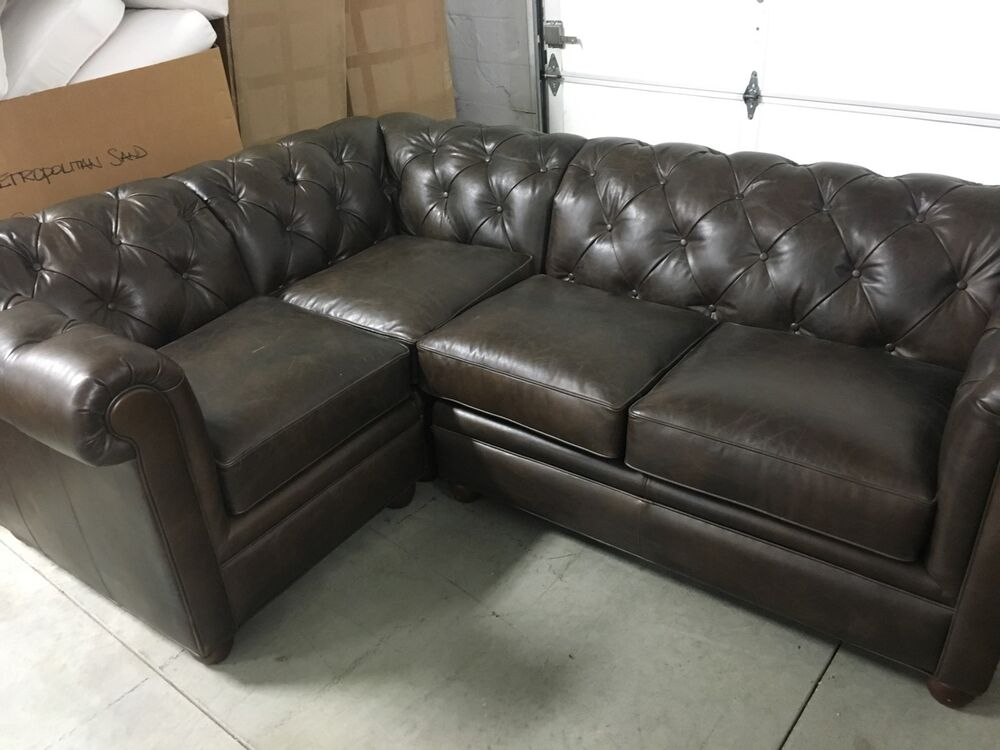 Pottery Barn Leather Chesterfield Tufted Pleated Sofa