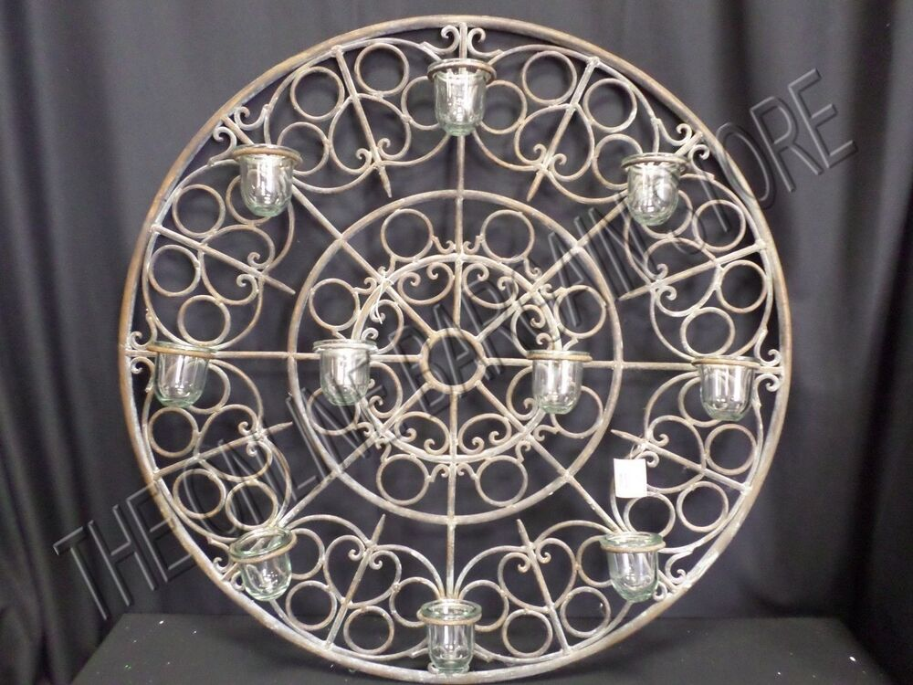 Antique Vintage Rustic Round Votive Candle Holder Wall ... on Metal Candle Holders For Wall id=33122