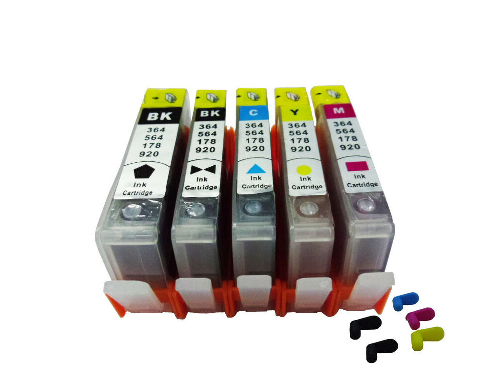 5 Refillable Ink Cartridges For Hp 564 564xl Photosmart