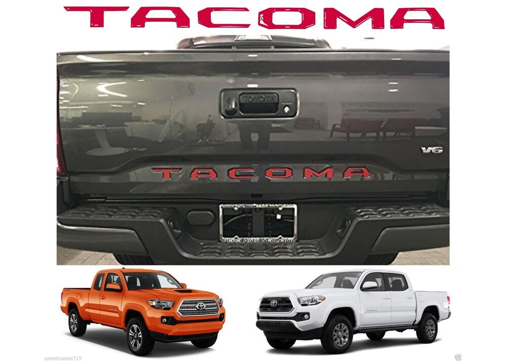 Red Tailgate Letters Inserts For 2016 2017 Toyota Tacoma