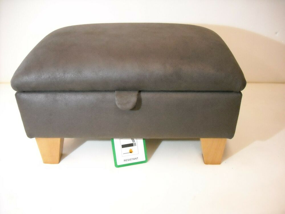 Chocolate Brown Faux Leather Footstool With Storage Solid