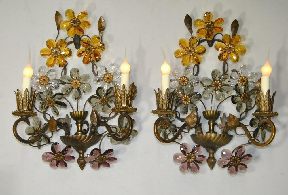 Pair of Antique French Bronze Two Light Wall Sconces with ... on Wall Sconces With Flowers id=35173