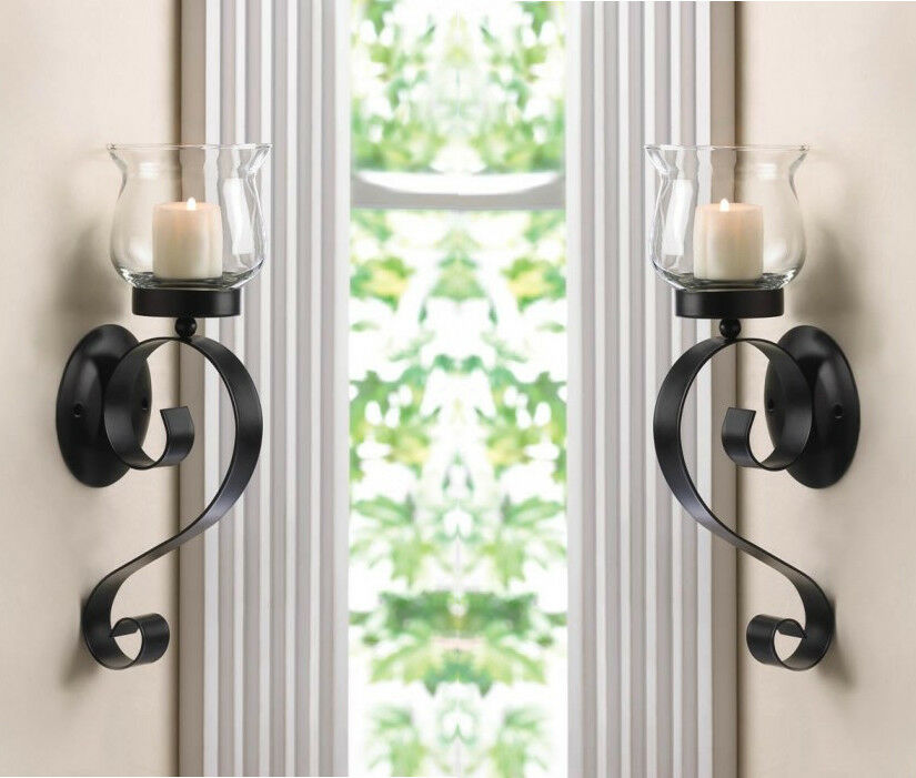 SET OF 2 SCROLLING CANDLE WALL MOUNT SCONCE CANDLEHOLDER ... on Decorative Wall Sconces Candle Holders Chrome id=40920