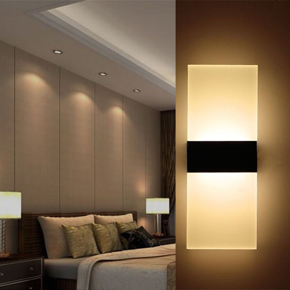 Modern LED Wall Light Up Down Cube Indoor Outdoor Sconce ... on Modern Indoor Wall Sconce id=63981