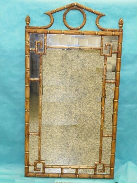 Mid Century Faux Bamboo Hollywood Regency Glam Gilt Wood