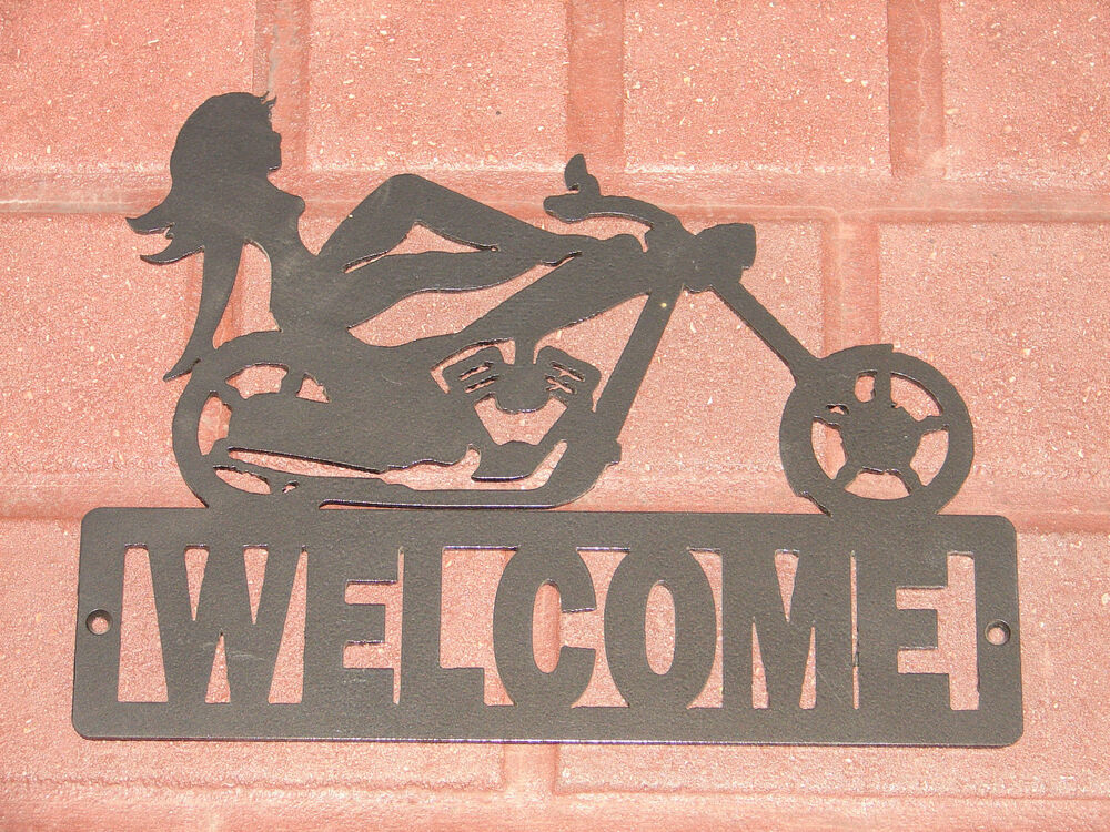 Chopper Metal Wall Welcome Plaque Sign Home Decor Harley ... on Home Wall Decor Signs id=92517