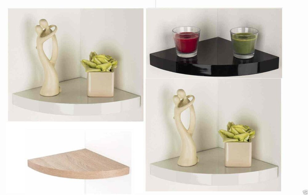 Floating Corner Shelf Shelving Gloss Finish & Wood Effect