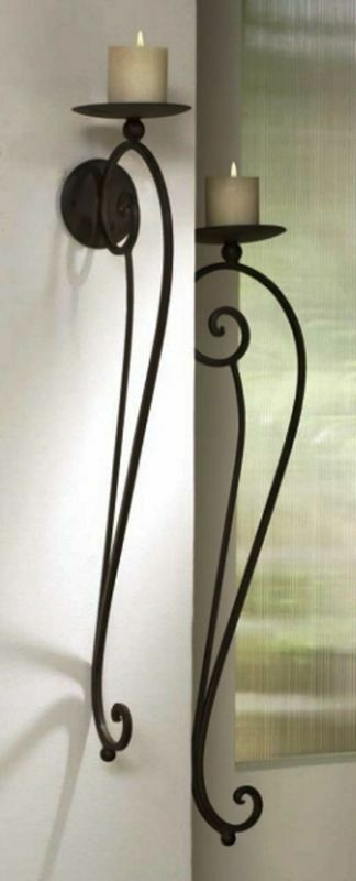 Large TUSCAN S/2 Scrolled Wrought Iron WALL CANDLE HOLDER ... on Large Wall Sconces Candle Holders Decorative id=93905