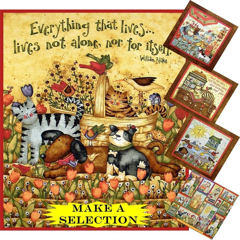 SPX CATS DOGS BIRDS FLORAL SAYINGS WORDS FABRIC PANELS