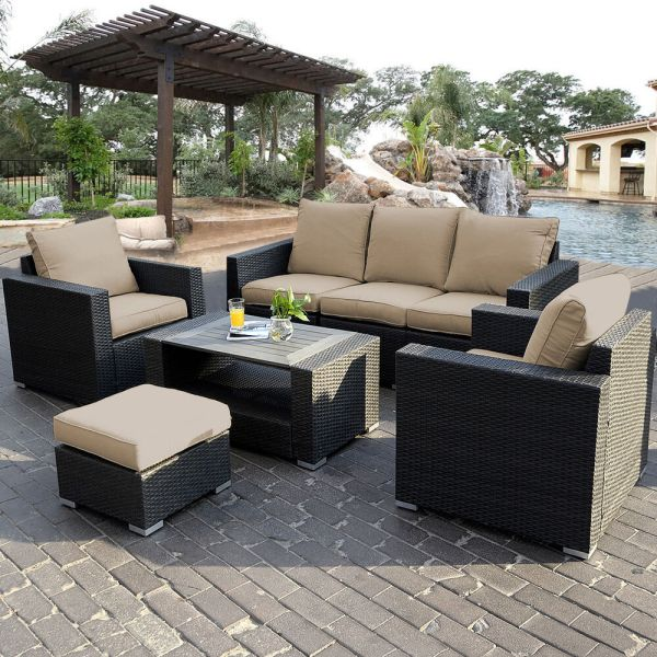 outdoor wicker rattan patio furniture 7PC Outdoor Patio Patio Sectional Furniture PE Wicker
