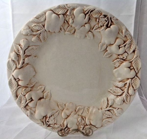 Brown and White Round Ceramic Platter Shallow Serving Bowl ...