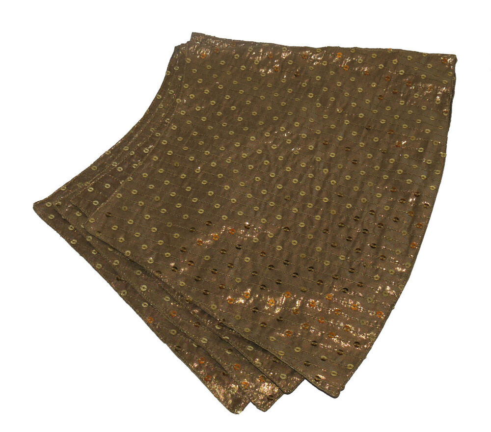 Gold Sequin Table Linens Set 4 X Shaped Placemats And 1