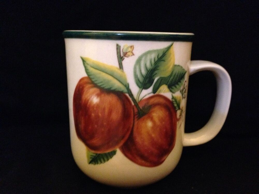 China Pearl Fine China Casuals Stoneware Apples Pattern 39033 Mugs Set Of 2 EBay