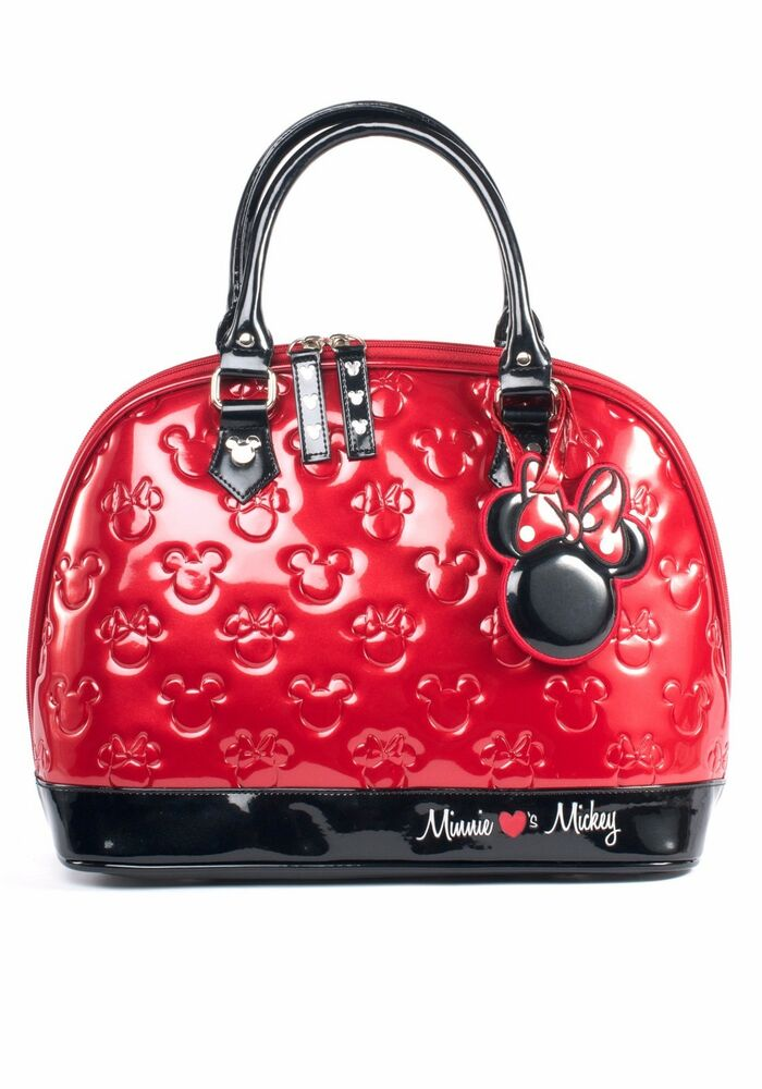 Disney Minnie Mouse Black Red Purse Handbag Loungefly