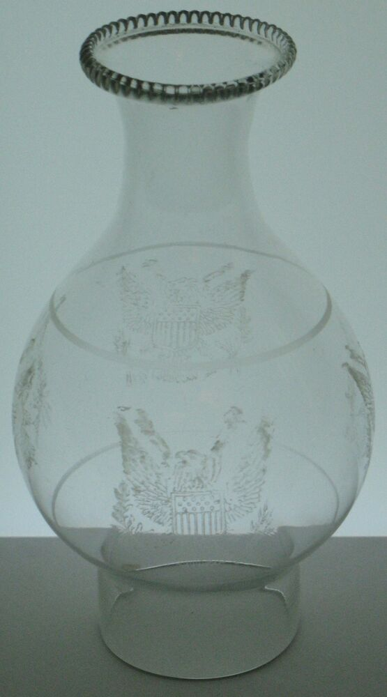 Antique Rare American Eagle Clear Glass Big Bulge Lamp 2