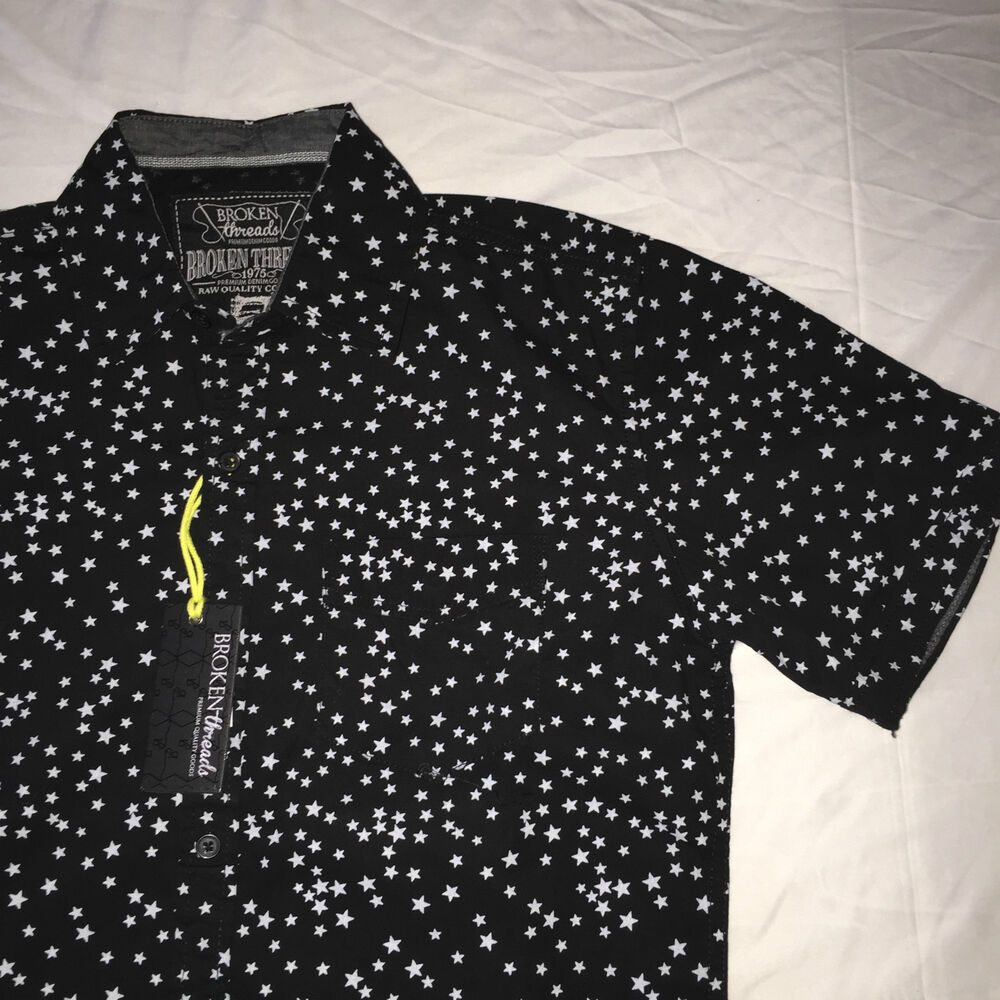 NWT Small BROKEN THREADS Stars Black White Button Down Short Sleeve T Shirt NEW EBay