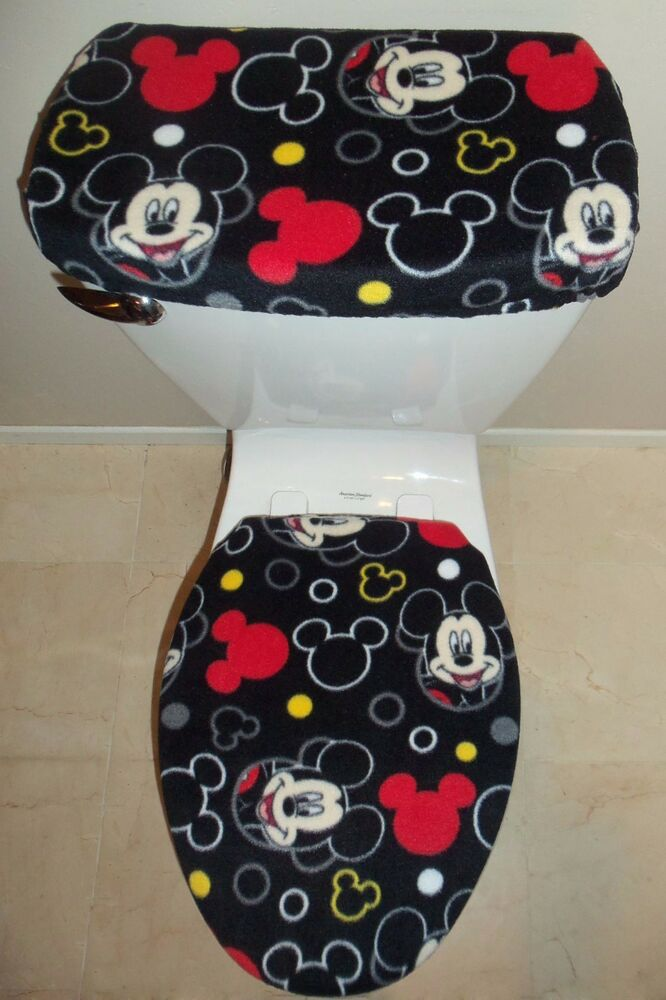 Disney Mickey Mouse Heads Fleece Toilet Seat Cover Set Bathroom Accessories EBay