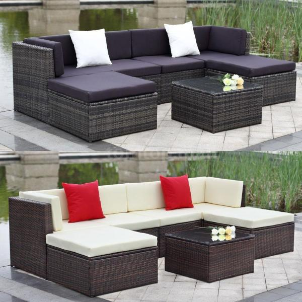 outdoor wicker patio furniture sectional sofa set Outdoor Cushioned Wicker Patio Set Garden Lawn Sofa