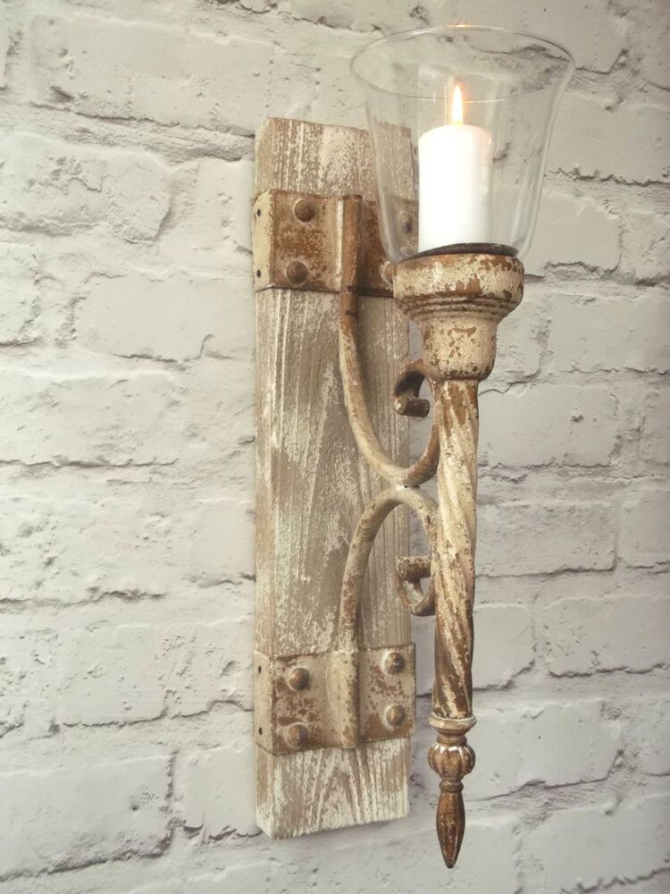 French Shabby Chic Wall Sconce Candle Holder Antique ... on Antique Style Candle Holder Sconces id=41657